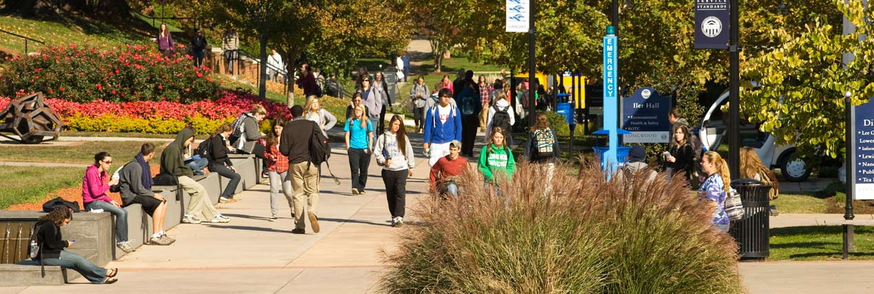 Students walking on Brock Commons at Longwood University